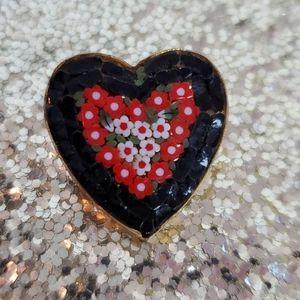 Vintage Mosaic Heart Shaped Pin